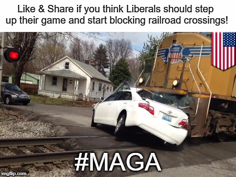 Make America Great Again | Like & Share if you think Liberals should step up their game and start blocking railroad crossings! #MAGA | image tagged in liberals,railroad crossings,maga | made w/ Imgflip meme maker