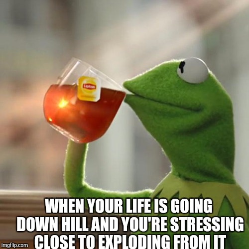 Deep depression | WHEN YOUR LIFE IS GOING DOWN HILL AND YOU'RE STRESSING CLOSE TO EXPLODING FROM IT | image tagged in memes,but thats none of my business,kermit the frog | made w/ Imgflip meme maker