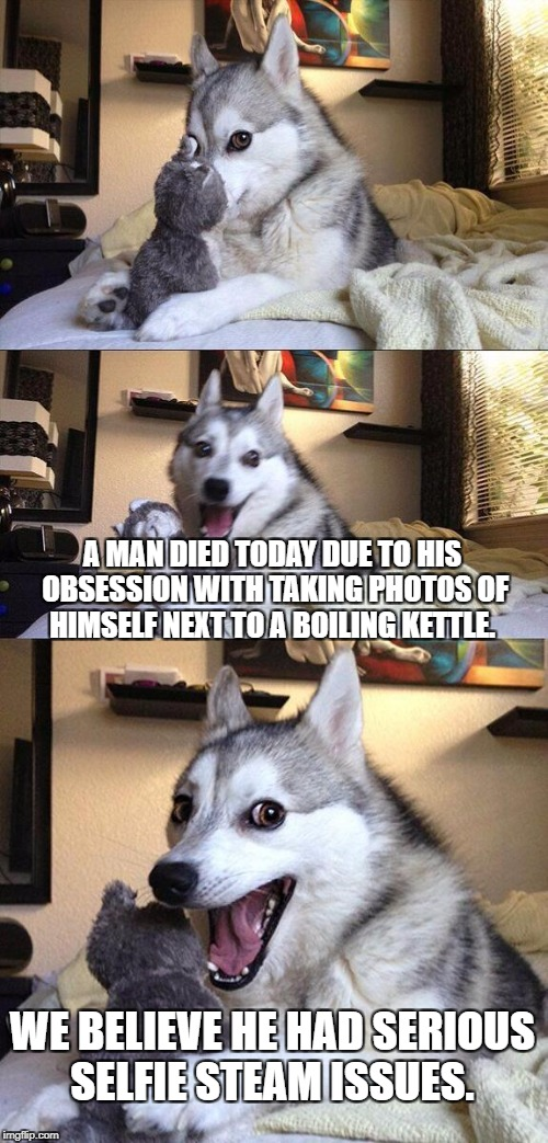 Bad Pun Dog Meme | A MAN DIED TODAY DUE TO HIS OBSESSION WITH TAKING PHOTOS OF HIMSELF NEXT TO A BOILING KETTLE. WE BELIEVE HE HAD SERIOUS SELFIE STEAM ISSUES. | image tagged in memes,bad pun dog | made w/ Imgflip meme maker