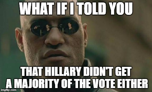 Matrix Morpheus Meme | WHAT IF I TOLD YOU THAT HILLARY DIDN'T GET A MAJORITY OF THE VOTE EITHER | image tagged in memes,matrix morpheus,hillary clinton 2016,hillary clinton,donald trump,election 2016 | made w/ Imgflip meme maker