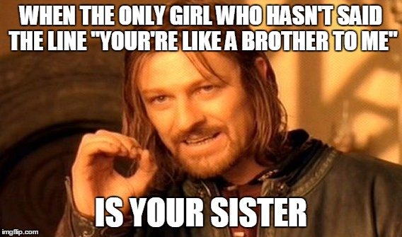 "One Does Not Simply | WHEN THE ONLY GIRL WHO HASN'T SAID THE LINE ""YOUR'RE LIKE A BROTHER TO ME"" IS YOUR SISTER 