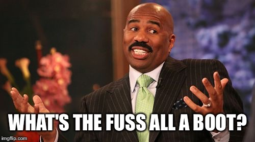 Steve Harvey Meme | WHAT'S THE FUSS ALL A BOOT? | image tagged in memes,steve harvey | made w/ Imgflip meme maker
