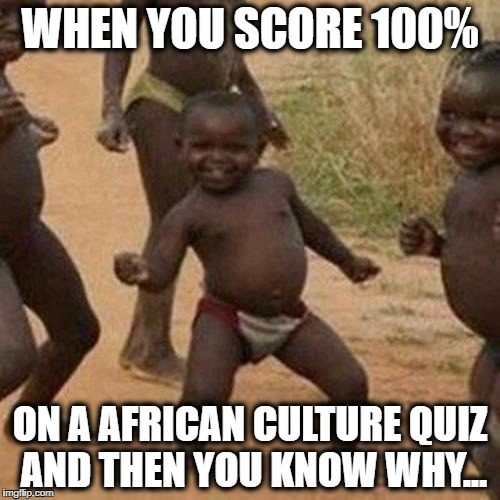 Third World Success Kid Meme | WHEN YOU SCORE 100% ON A AFRICAN CULTURE QUIZ AND THEN YOU KNOW WHY... | image tagged in memes,third world success kid | made w/ Imgflip meme maker
