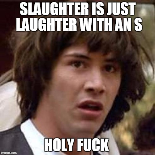 Conspiracy Keanu Meme | SLAUGHTER IS JUST LAUGHTER WITH AN S HOLY F**K | image tagged in memes,conspiracy keanu | made w/ Imgflip meme maker