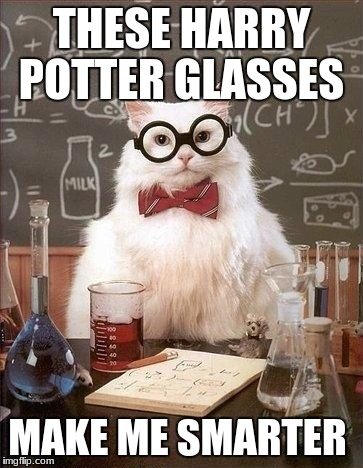Harry Potter Glasses | THESE HARRY POTTER GLASSES MAKE ME SMARTER | image tagged in chem cat,harry potter,glasses | made w/ Imgflip meme maker