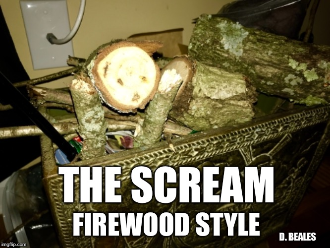 The Scream Firewood Style | THE SCREAM FIREWOOD STYLE D. BEALES | image tagged in the scream,fire,firewood,edward munch | made w/ Imgflip meme maker
