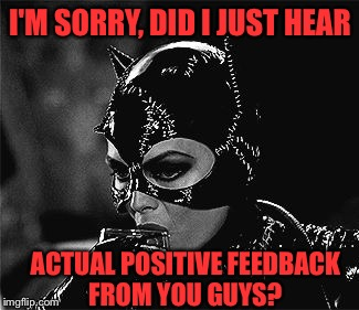 I'M SORRY, DID I JUST HEAR ACTUAL POSITIVE FEEDBACK FROM YOU GUYS? | made w/ Imgflip meme maker
