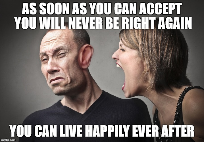 AS SOON AS YOU CAN ACCEPT YOU WILL NEVER BE RIGHT AGAIN YOU CAN LIVE HAPPILY EVER AFTER | image tagged in screaming wife | made w/ Imgflip meme maker