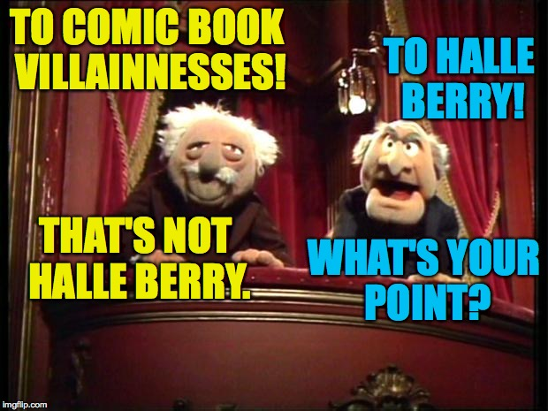TO COMIC BOOK VILLAINNESSES! WHAT'S YOUR POINT? TO HALLE BERRY! THAT'S NOT HALLE BERRY. | made w/ Imgflip meme maker