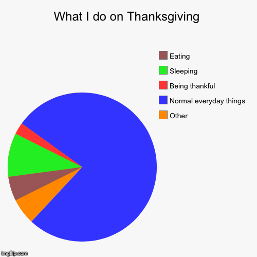 The truth of thanksgiving | What I do on Thanksgiving | Other, Normal everyday things, Being thankful , Sleeping , Eating | image tagged in funny,pie charts,thanksgiving | made w/ Imgflip pie chart maker