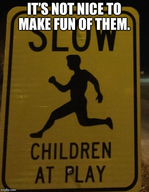 Sign  | IT'S NOT NICE TO MAKE FUN OF THEM. | image tagged in sign | made w/ Imgflip meme maker