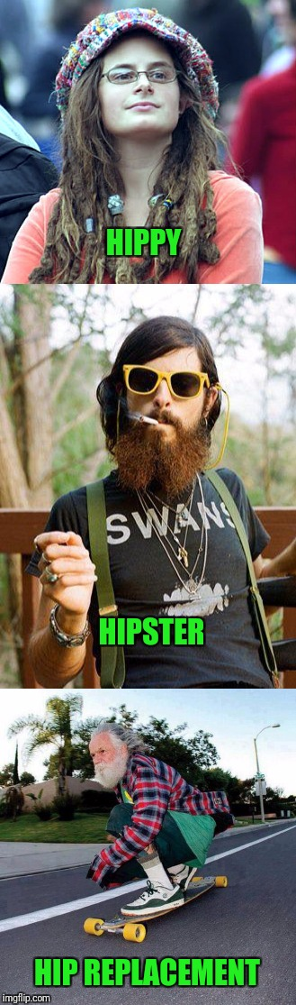 Hip Hip...HOORAY! |  HIPPY; HIPSTER; HIP REPLACEMENT | image tagged in hipster,hippy girl,skateboarding,skateboard | made w/ Imgflip meme maker