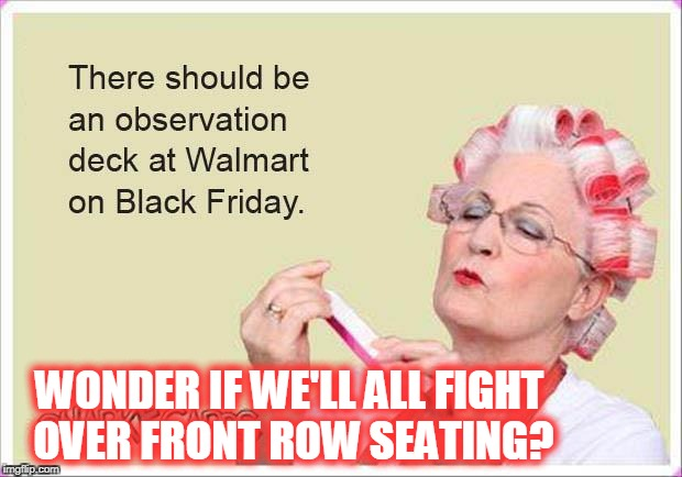 Black Friday fights for everyone! | WONDER IF WE'LL ALL FIGHT OVER FRONT ROW SEATING? | image tagged in black friday,people of walmart,walmart,fights,front row seating | made w/ Imgflip meme maker
