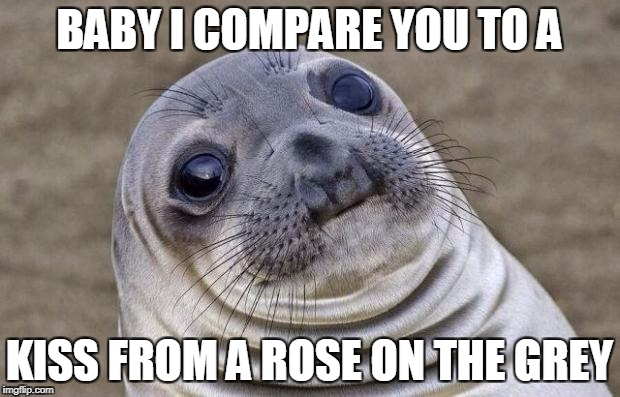 Awkward Moment Sealion Meme | BABY I COMPARE YOU TO A KISS FROM A ROSE ON THE GREY | image tagged in memes,awkward moment sealion | made w/ Imgflip meme maker