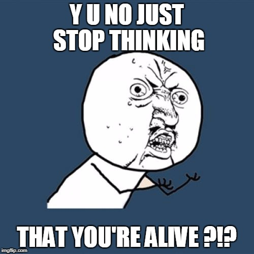Y U No Meme | Y U NO JUST STOP THINKING THAT YOU'RE ALIVE ?!? | image tagged in memes,y u no | made w/ Imgflip meme maker