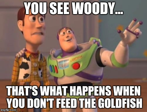 X, X Everywhere Meme | YOU SEE WOODY... THAT'S WHAT HAPPENS WHEN YOU DON'T FEED THE GOLDFISH | image tagged in memes,x x everywhere | made w/ Imgflip meme maker