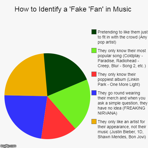 F.F.F | How to Identify a 'Fake 'Fan' in Music | They only like an artist for their appearance, not their music (Justin Bieber, 1D, Shawn Mendes, Bo | image tagged in funny,pie charts,fake fans,music joke | made w/ Imgflip pie chart maker