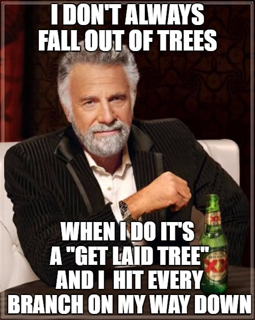 "The get laid tree | I DON'T ALWAYS FALL OUT OF TREES WHEN I DO IT'S A ""GET LAID TREE"" AND I  HIT EVERY BRANCH ON MY WAY DOWN 