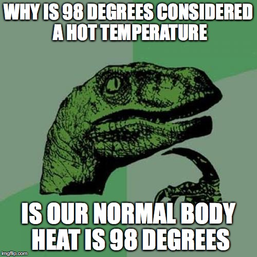 Philosoraptor Meme | WHY IS 98 DEGREES CONSIDERED A HOT TEMPERATURE IS OUR NORMAL BODY HEAT IS 98 DEGREES | image tagged in memes,philosoraptor,funny,riddle me this,explain | made w/ Imgflip meme maker