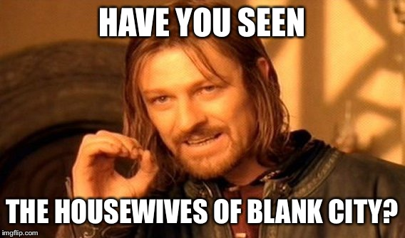 One Does Not Simply Meme | HAVE YOU SEEN THE HOUSEWIVES OF BLANK CITY? | image tagged in memes,one does not simply | made w/ Imgflip meme maker