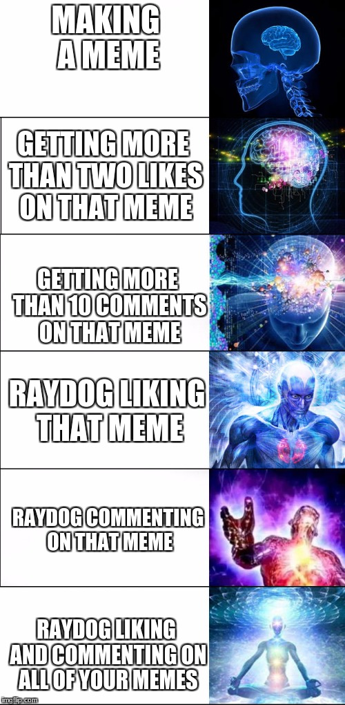 I may have a heart attack if Raydog likes and comments on this meme. | MAKING A MEME RAYDOG LIKING AND COMMENTING ON ALL OF YOUR MEMES GETTING MORE THAN TWO LIKES ON THAT MEME GETTING MORE THAN 10 COMMENTS ON TH | image tagged in expanding brain,raydog,memes,funny | made w/ Imgflip meme maker