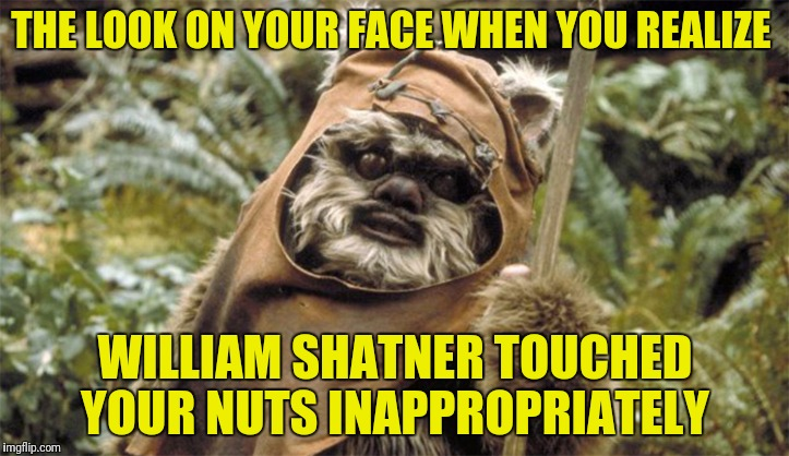 THE LOOK ON YOUR FACE WHEN YOU REALIZE WILLIAM SHATNER TOUCHED YOUR NUTS INAPPROPRIATELY | made w/ Imgflip meme maker