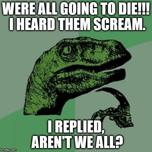 aren't we all | WERE ALL GOING TO DIE!!! I HEARD THEM SCREAM. I REPLIED, AREN'T WE ALL? | image tagged in memes,philosoraptor | made w/ Imgflip meme maker