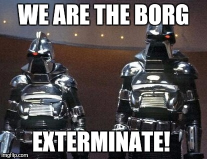 And just like that, a million geek heads exploded...Star Trek Week, a brandy_jackson, Tombstone1881 & coollew event! Nov 20 - 27 | WE ARE THE BORG EXTERMINATE! | image tagged in battlestar galactica,star trek week,jbmemegeek,dr who,star trek,cylons | made w/ Imgflip meme maker