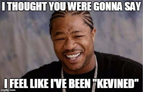 "Yo Dawg Heard You Meme | I THOUGHT YOU WERE GONNA SAY I FEEL LIKE I'VE BEEN ""KEVINED"" 