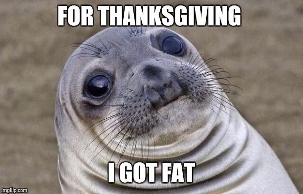 Why does this keep happening to me | FOR THANKSGIVING I GOT FAT | image tagged in memes,awkward moment sealion,thanksgiving,fat | made w/ Imgflip meme maker