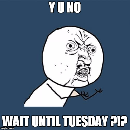 Y U No Meme | Y U NO WAIT UNTIL TUESDAY ?!? | image tagged in memes,y u no | made w/ Imgflip meme maker