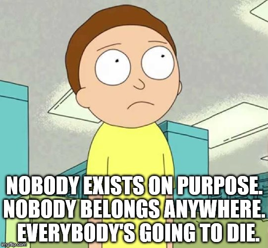 NOBODY EXISTS ON PURPOSE. NOBODY BELONGS ANYWHERE.  EVERYBODY'S GOING TO DIE. | image tagged in morty | made w/ Imgflip meme maker