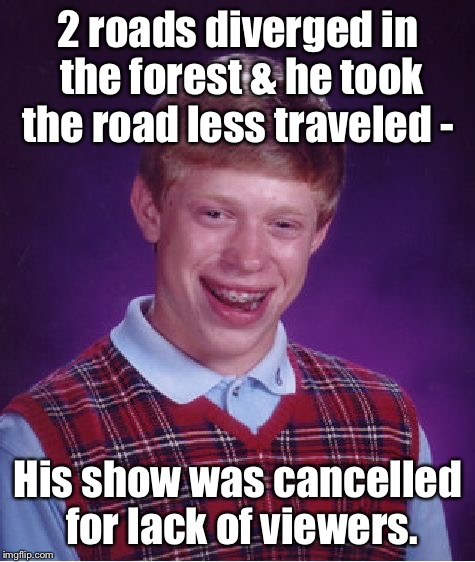 Should have taken the other road that had lots of viewers! | 2 roads diverged in the forest & he took the road less traveled - His show was cancelled for lack of viewers. | image tagged in memes,bad luck brian,road less traveled,irony,cancelled show,low ratings | made w/ Imgflip meme maker