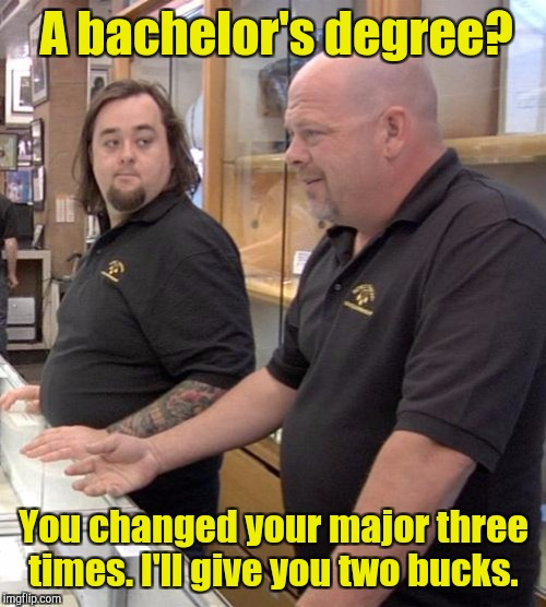 A bachelor's degree? You changed your major three times. I'll give you two bucks. | made w/ Imgflip meme maker