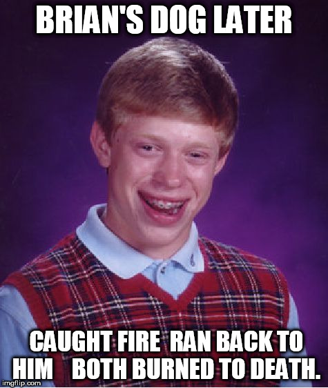 Bad Luck Brian Meme | BRIAN'S DOG LATER CAUGHT FIRE  RAN BACK TO HIM    BOTH BURNED TO DEATH. | image tagged in memes,bad luck brian | made w/ Imgflip meme maker