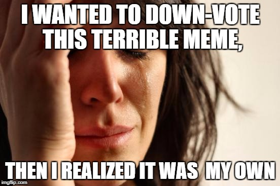 First World Problems Meme | I WANTED TO DOWN-VOTE THIS TERRIBLE MEME, THEN I REALIZED IT WAS  MY OWN | image tagged in memes,first world problems | made w/ Imgflip meme maker