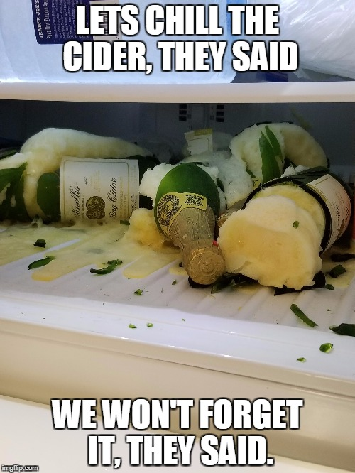 LETS CHILL THE CIDER, THEY SAID WE WON'T FORGET IT, THEY SAID. | image tagged in thanksgiving | made w/ Imgflip meme maker