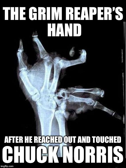 Broken Hand | THE GRIM REAPER'S HAND AFTER HE REACHED OUT AND TOUCHED CHUCK NORRIS | image tagged in broken hand,memes,chuck norris | made w/ Imgflip meme maker