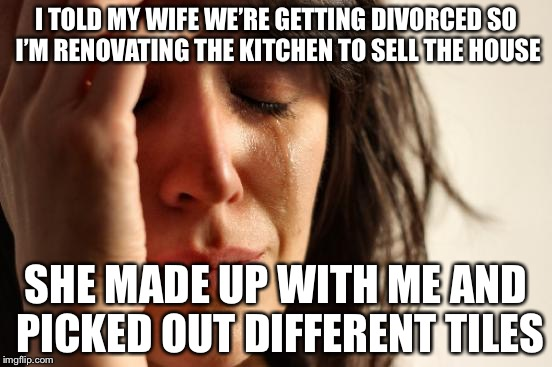First World Problems Meme | I TOLD MY WIFE WE'RE GETTING DIVORCED SO I'M RENOVATING THE KITCHEN TO SELL THE HOUSE SHE MADE UP WITH ME AND PICKED OUT DIFFERENT TILES | image tagged in memes,first world problems | made w/ Imgflip meme maker
