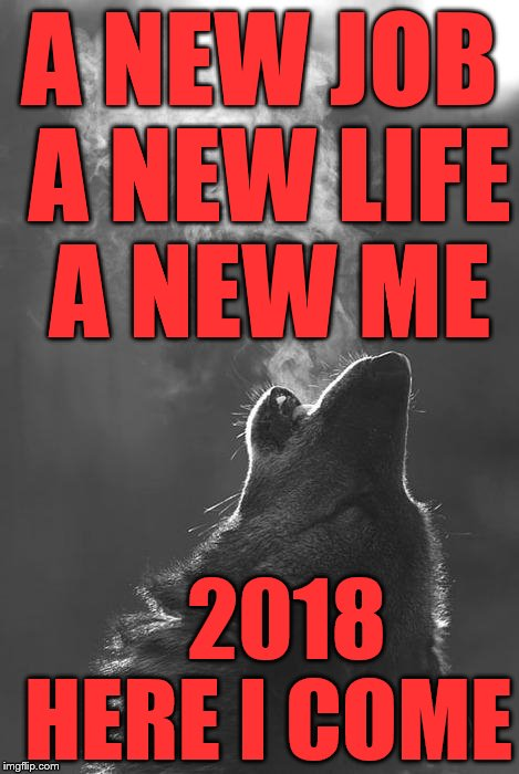 wolf bong | A NEW JOB A NEW LIFE A NEW ME 2018 HERE I COME | image tagged in wolf bong | made w/ Imgflip meme maker