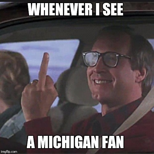 Clark Griswold  | WHENEVER I SEE A MICHIGAN FAN | image tagged in clark griswold | made w/ Imgflip meme maker