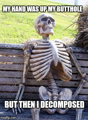Waiting Skeleton Meme | MY HAND WAS UP MY BUTTHOLE BUT THEN I DECOMPOSED | image tagged in memes,waiting skeleton | made w/ Imgflip meme maker