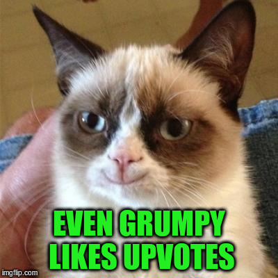 EVEN GRUMPY LIKES UPVOTES | made w/ Imgflip meme maker