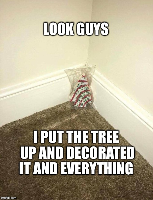 Oh Christmas Tree... | LOOK GUYS I PUT THE TREE UP AND DECORATED IT AND EVERYTHING | image tagged in christmas,christmas tree,snack | made w/ Imgflip meme maker