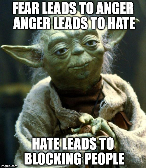 Star Wars Yoda Meme | FEAR LEADS TO ANGER ANGER LEADS TO HATE HATE LEADS TO BLOCKING PEOPLE | image tagged in memes,star wars yoda | made w/ Imgflip meme maker