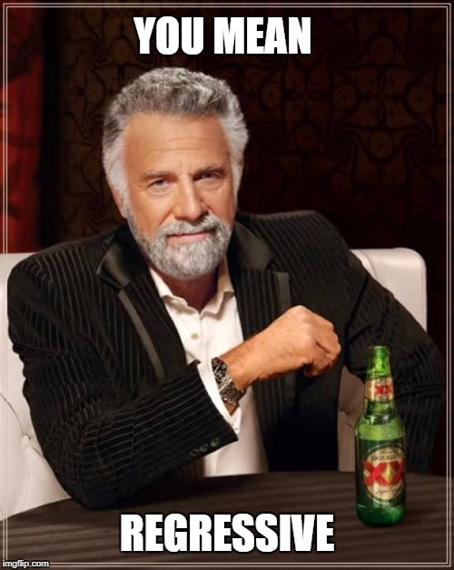The Most Interesting Man In The World Meme | YOU MEAN REGRESSIVE | image tagged in memes,the most interesting man in the world | made w/ Imgflip meme maker