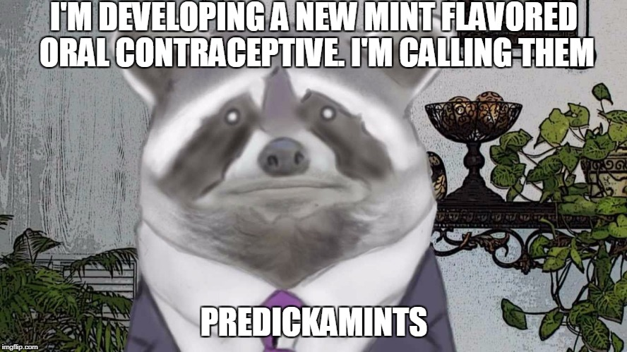wa-ka wa-ka | I'M DEVELOPING A NEW MINT FLAVORED ORAL CONTRACEPTIVE. I'M CALLING THEM PREDICKAMINTS | image tagged in birth control,thin mints,meds | made w/ Imgflip meme maker