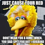 Big Bird Meme | JUST CAUSE YOUR RED DONT MEAN YOU A DIME! WHEN, YOU DAD SPIT YOU OUT #BIGBIRD | image tagged in memes,big bird | made w/ Imgflip meme maker