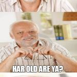 Horrible Pun Harold | PIRATES ASK GUYS NAMED HAROLD 1 QUESTION: HAR OLD ARE YA? | image tagged in horrible pun harold,hide the pain harold,question,pirate,old,memes | made w/ Imgflip meme maker