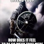 :D | OH DID I OFFEND YOU? HOW DOES IT FEEL TO BE SO WEAK THAT MERE WORDS CAN HURT YOU | image tagged in viking warrior,memes | made w/ Imgflip meme maker